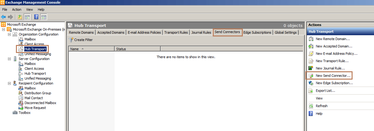 Configure Send Connector in Exchange 2010