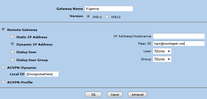Configuring IPSec Phase 1 Gateway in SSG