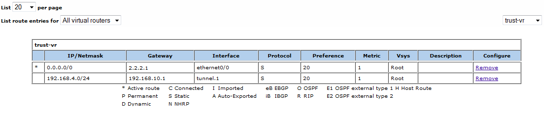 Setting Routing Table in SSG