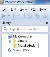 Rename Folder Name in VMware Workstation 8
