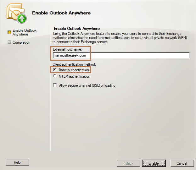 Enable Outlook Anywhere in Exchange 2010