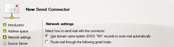Send Connector Network Setting