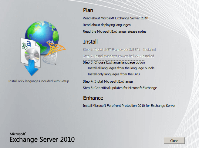 Install Exchange Server 2010 in Windows Server 2008 R2