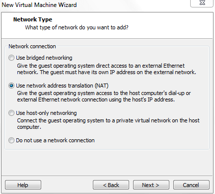 Choose Network Type for VIrtual Machine