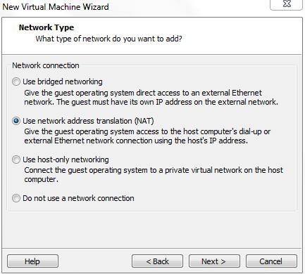 Choose Network Type for VIrtual Machine