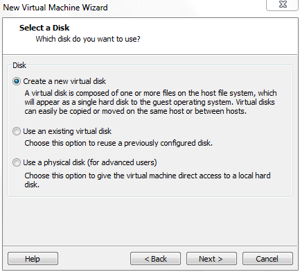 Select a Disk for Virtual Machine