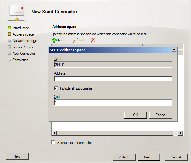 smtp send connector