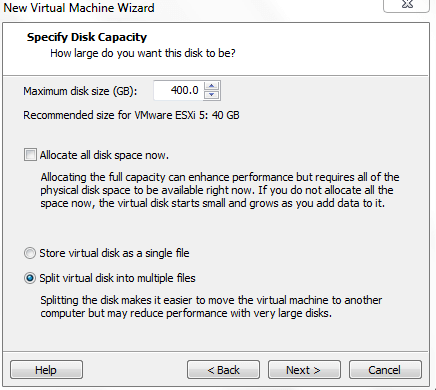 Specify Virtual Disk Capacity