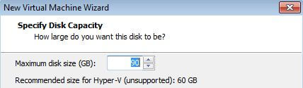 VM Disk Space