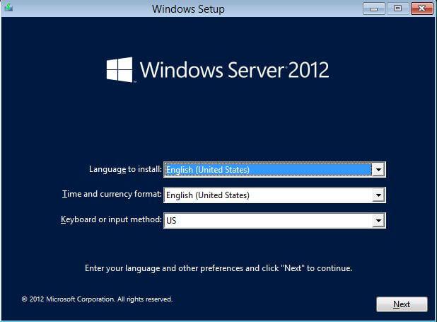 Start Installing Server 2012