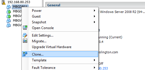 Clone virtual machine in VMware vCenter