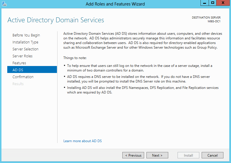 Install Domain Controller in Windows Server 2012