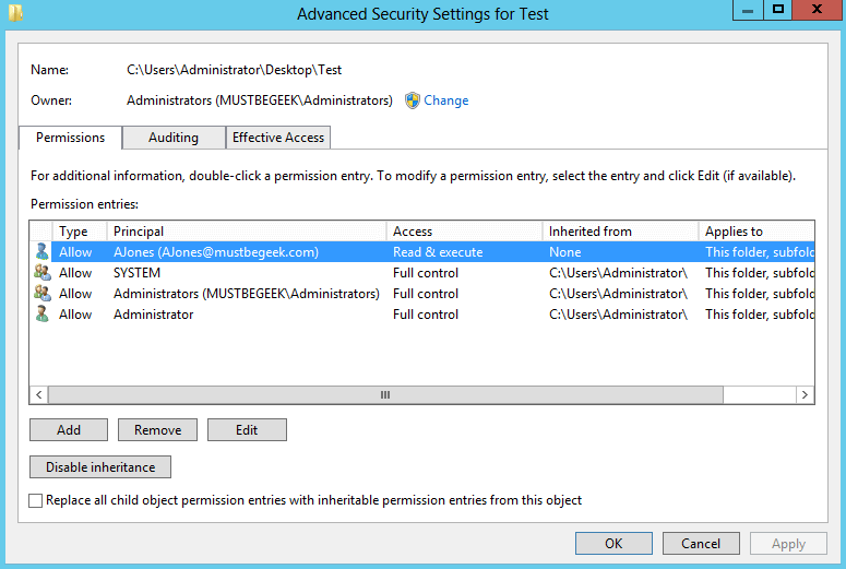 Server 2012 NTFS File and Folder PermissionsMustBeGeek