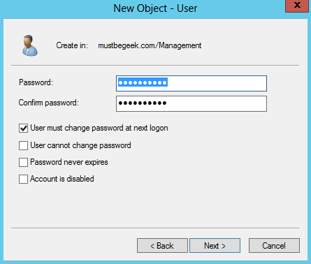 Configure User Password