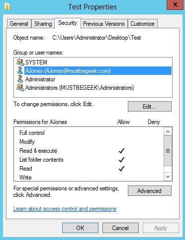 Server 2012 NTFS File and Folder Permissions