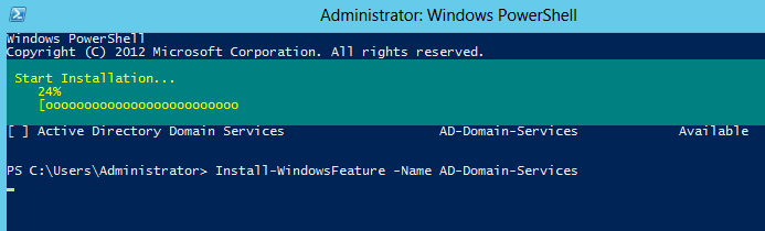 Install Domain Controller in Server 2012 using Windows PowerShell