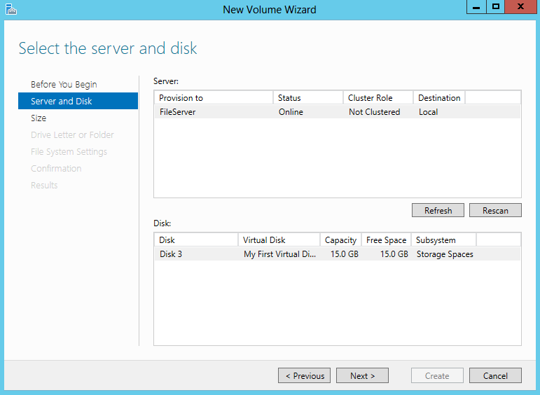 Select the server and disk