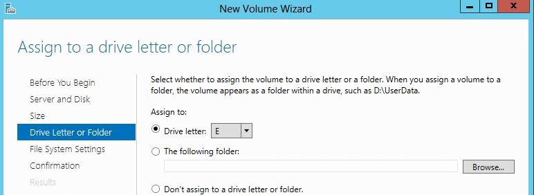 Specify Drive Letter