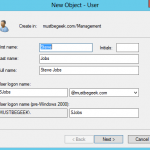 Create User Account in Server 2012 Domain Controller