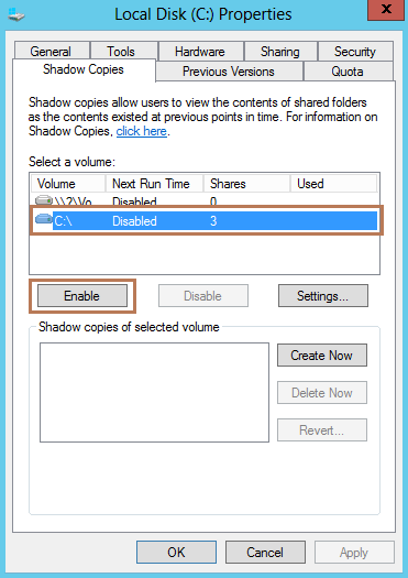 Configure Shadow Copy of Shared Folder in Server 2012