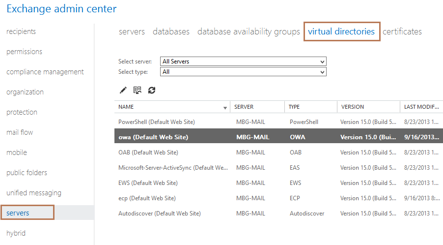 Configure External and Internal URL in Exchange 2013