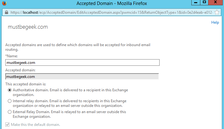 2. Default Accepted Domain