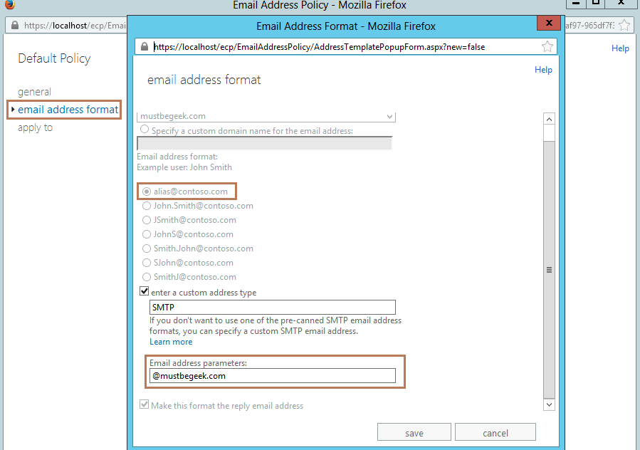 3. Default Email Address Policy