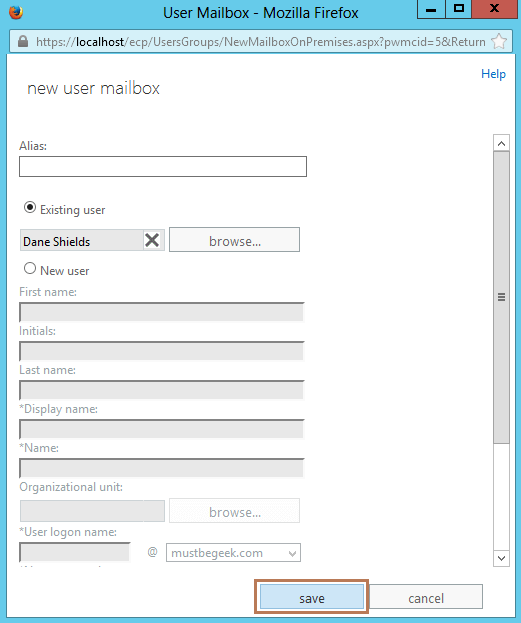 4. New Mailbox Creation