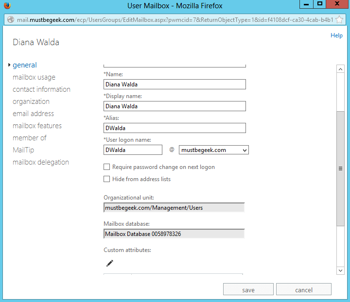 Reset User Password in Exchange 2013