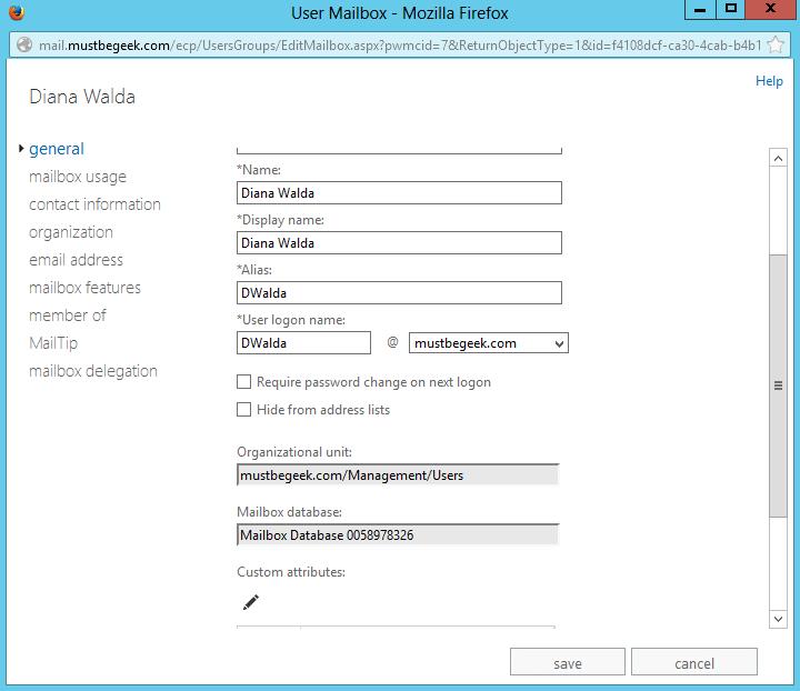 Reset User Password in Exchange 2013