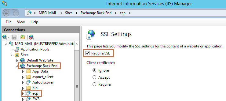 ECP Backend SSL