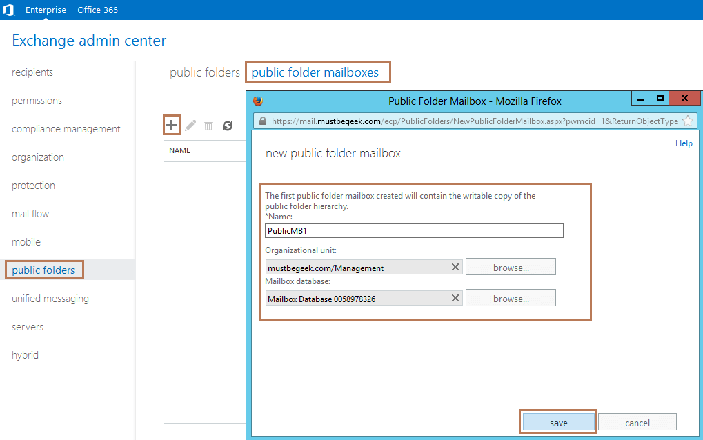 Setup Public Folders in Exchange Server 2013