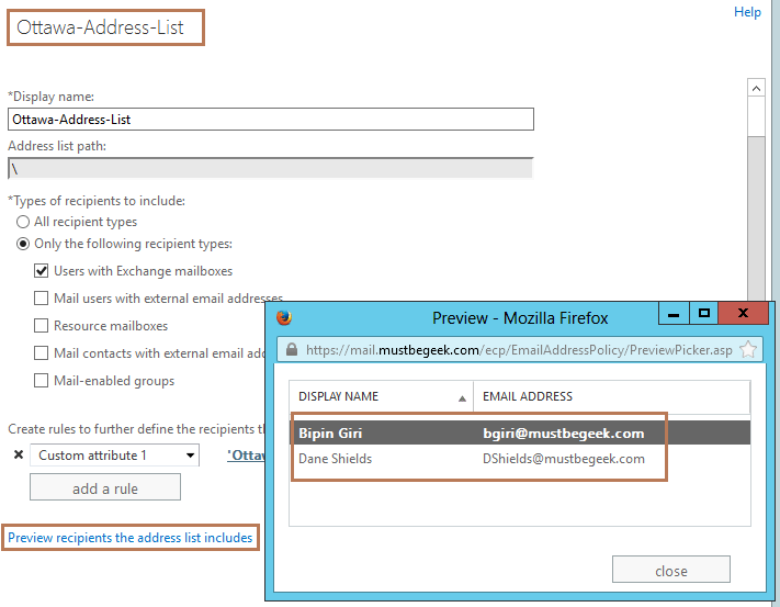 configure address lists in exchange server 2013