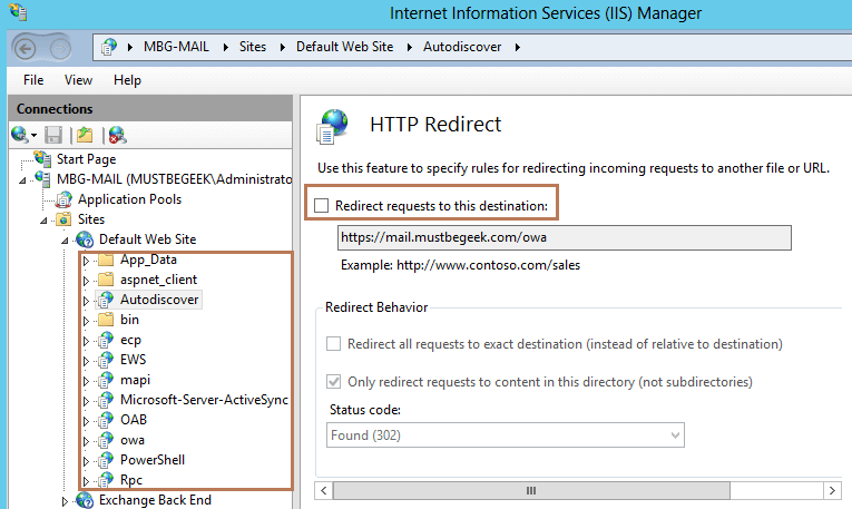 Remove HTTP Redirect Option