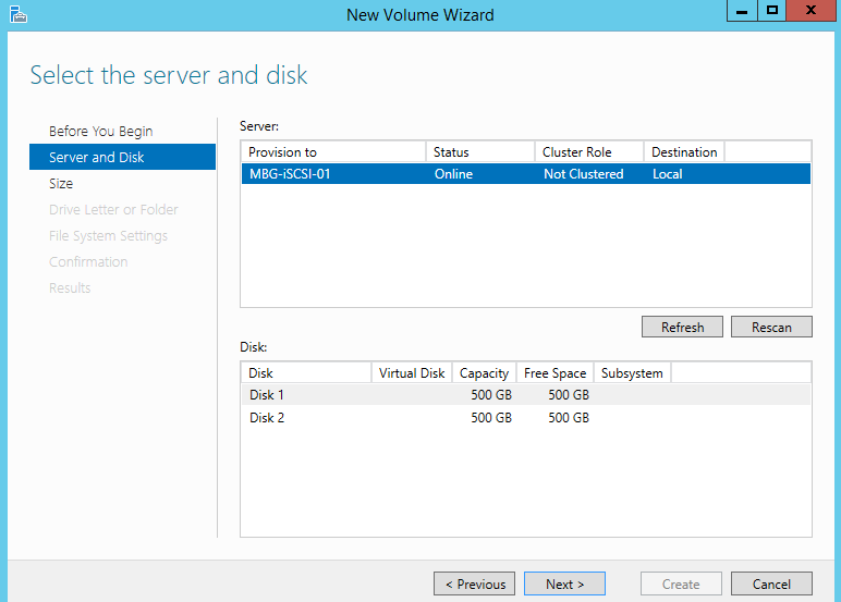 Choose Server and Disk and click Next