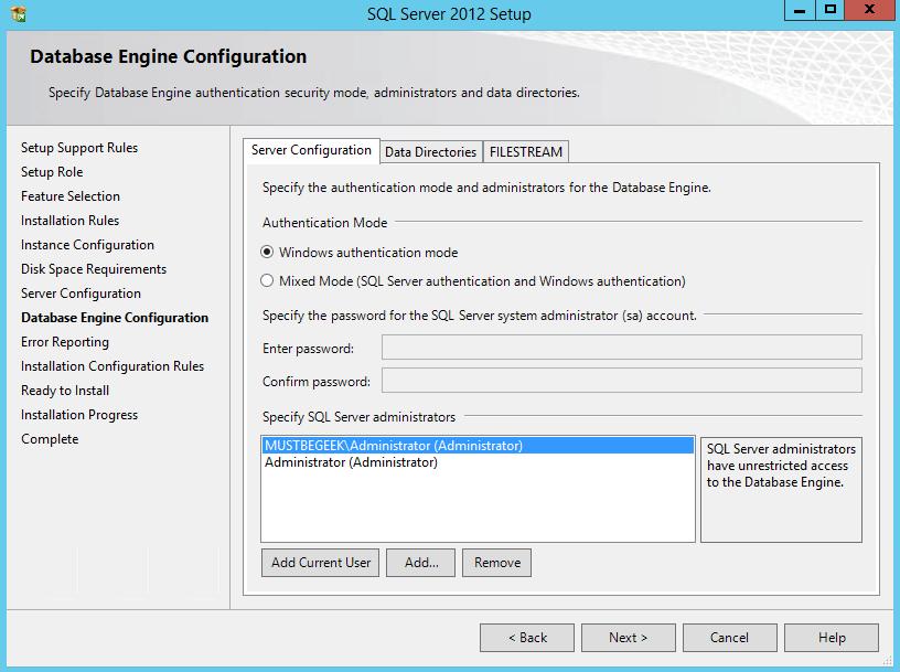 Database Engine Configuration - Server Configuration