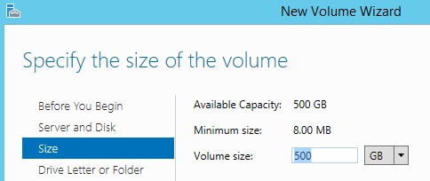Configure the SIZE