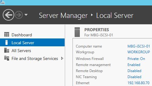 iSCSI Server Information
