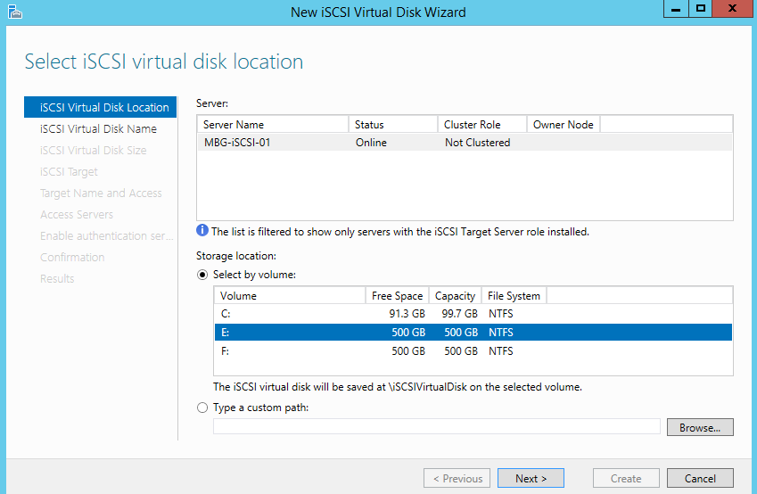Select iSCSI virtual disk