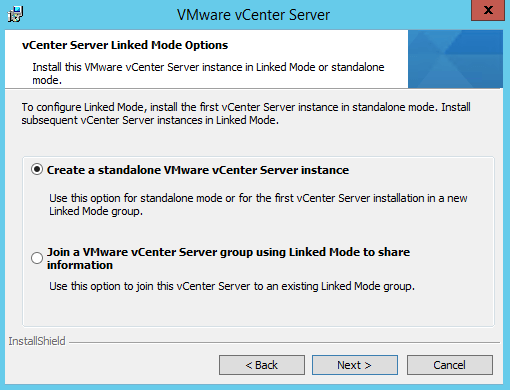 Create a standalone vCenter Server instance