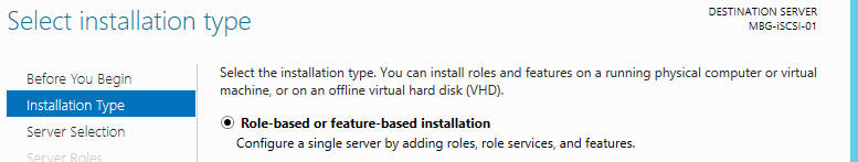 Role Based Installation type