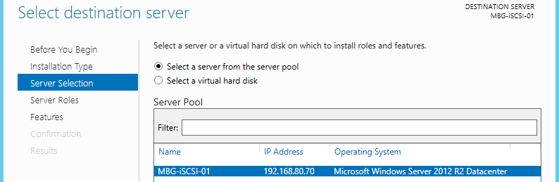 Select Server from the pool
