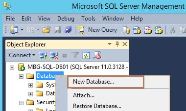 Create vCenter Database