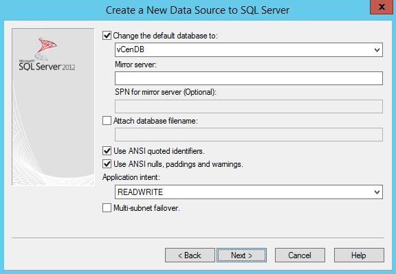 Change default database