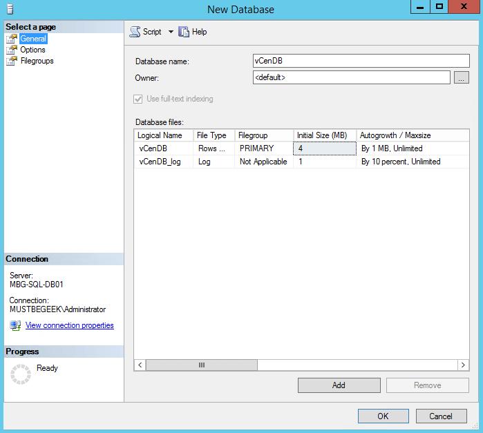 New vCenDB Database