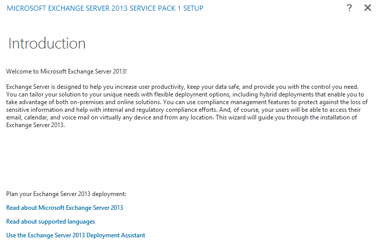 Install Exchange Server 2013 SP1 in Windows Server 2012 R2