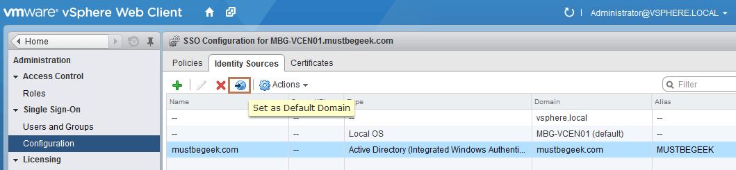 set as default domain