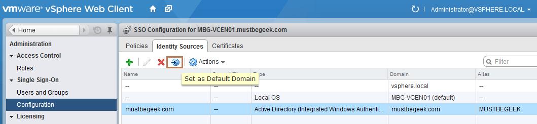 set as default domain