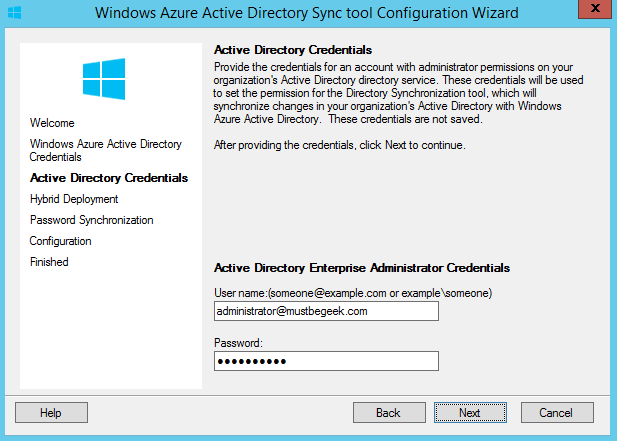 Setup DirSync Between Office 365 and Active Directory