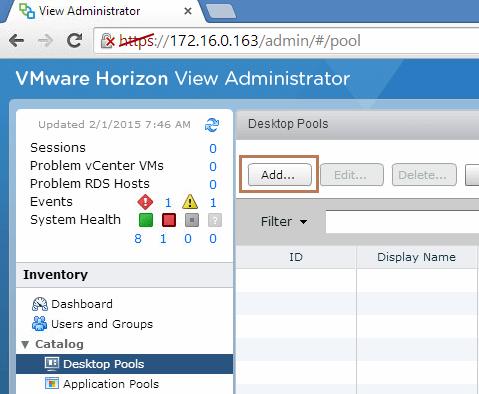 Adding Desktop Pool